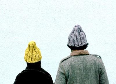 ニット帽2色調整